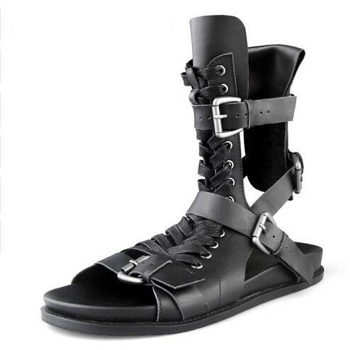 Wysokiej jakości mężczyźni rzym sandały czarne buty Sandały gladiatorki wysokie kapcie z prawdziwej skóry slajdy letnie męskie sandały w Sandały męskie od Buty na  Grupa 1