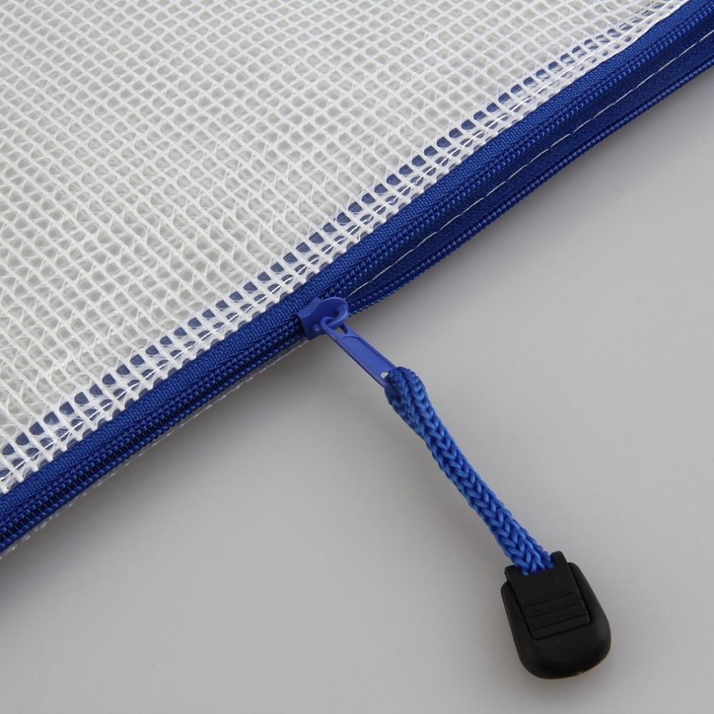 Portable A4 5/10 pcs/Pack Pen File Clear Grid Lines Bag Folder Waterproof Colorful Plastic Zip Bag Filing Product School