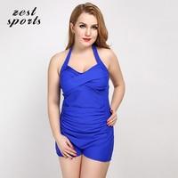 793 Women Plus Size One Piece Swimsuits Summer Beach Sunscreen Swimwear Safe Flat Pants Waist Folds