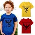 Pokemon equipe de designer de roupas de roupas infantis camiseta fille místico equipe menino crianças encabeça poleras camisetas infantis de menina