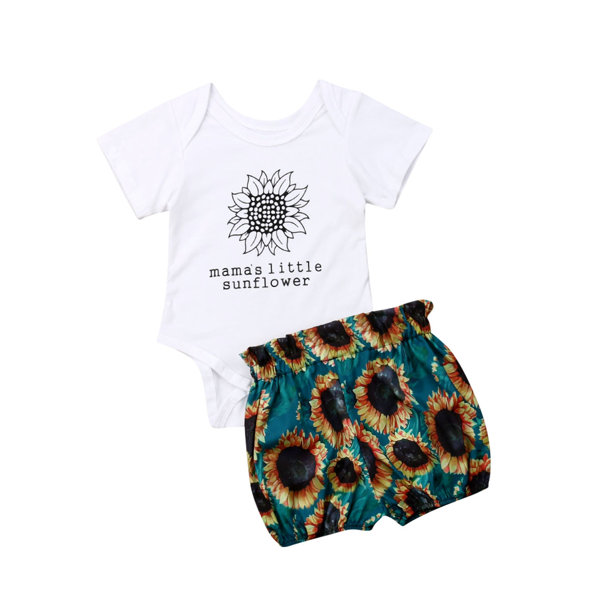 Newborn Infant Kids Baby Girls Clothes Sets Flowers Print White Romper Tops+Shorts Trousers 0-18M