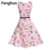 Fenghua Elegant Summer Vintage Dresses For Women Plus Size Floral Print Audrey Hepburn Party Dress Robe