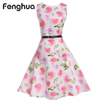 Fenghua Elegant Summer Vintage Dresses For Women Plus Size Floral Print Audrey Hepburn Party Dress Robe