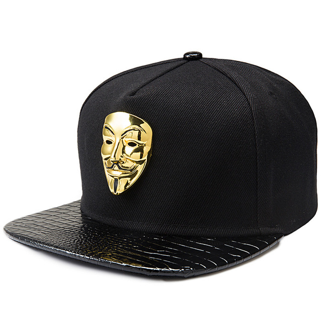 Men Hiphop dancing fashion new flat snapback hats Mask golden alloy mask black baseball caps