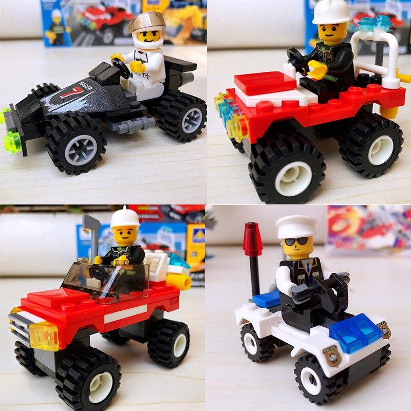 4 Style Mini Compatible Building Blocks Mini Car Racing Car Jeep Police Motorcycle Children Education Model Figure Toys