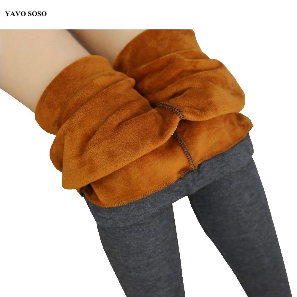 YAVO SOSO Autumn winter plus velvet thick warm   leggings   big size plus size 6XL Imitation cashmere lady trousers women pants