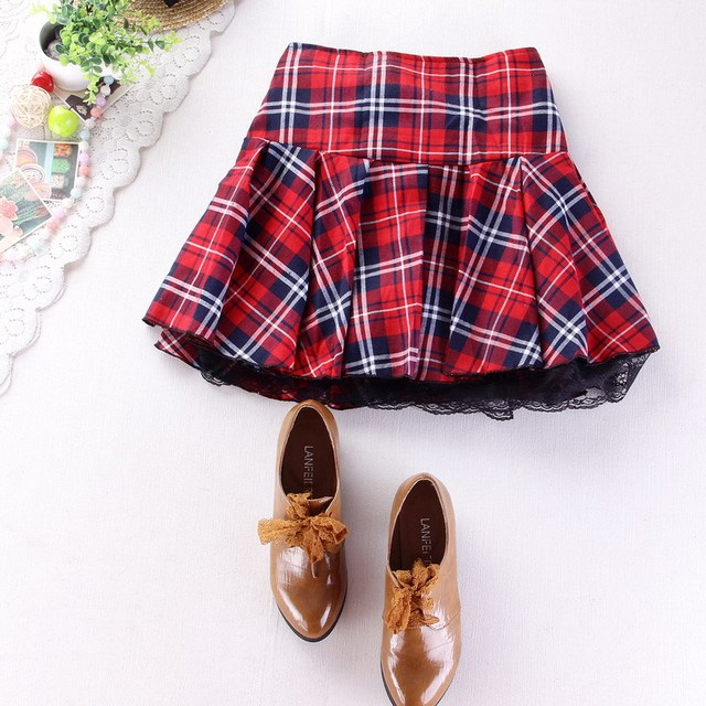 66cab684216 8 colors High quality school uniform skirt fashion plaid short skirt  pleated lace skirt student girl Japanese preppy mini skirt