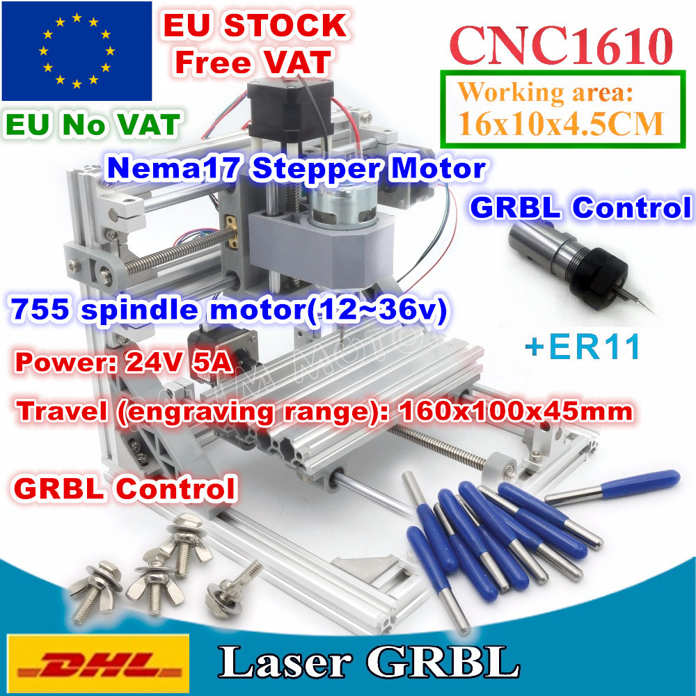 [EU Delivery/Free VAT] 1610 +ER11 GRBL Control Machine CNC DIY mini Working Area 160x100x45mm 3 Axis Pcb Milling Wood Router|Wood Routers| |  - title=