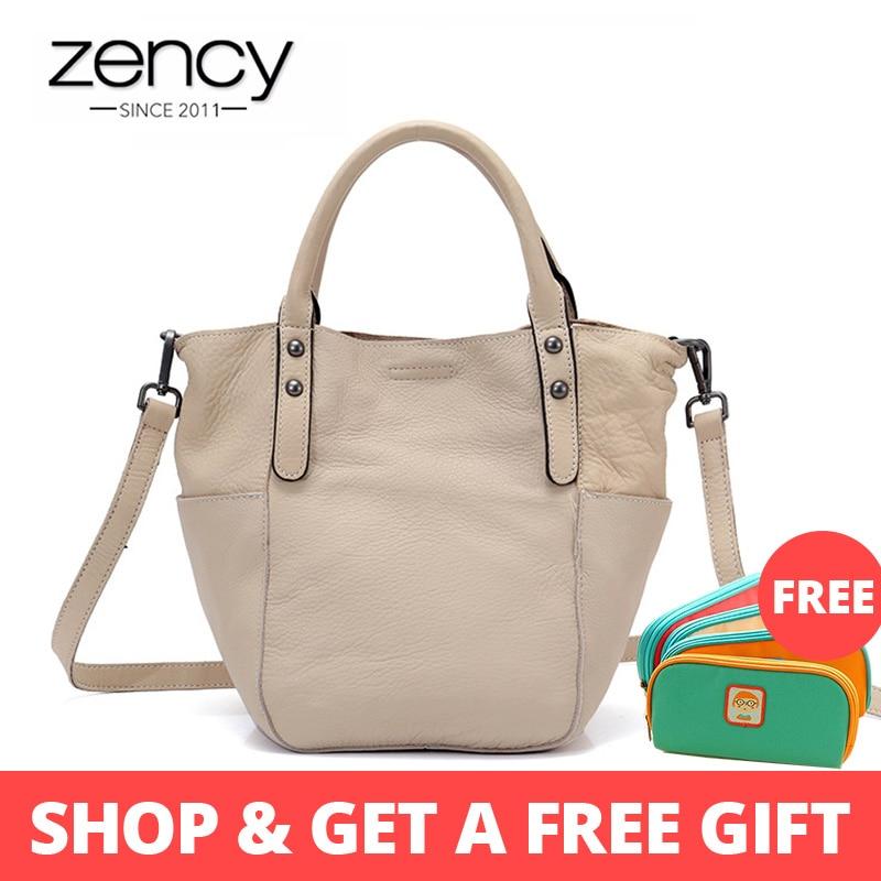 Zency Retro Composite Bag 100% Genuine Cowhide Leather Summer Beige Handbag Simple Bucket Tote Purse Lady Crossbody Bags Black