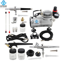 OPHIR Pro Air Compressor w/ 3pcs Airbrush Kit 0.3mm 0.35mm 0.8mm Air Brush Gun for Model Hobby Cake Decorating_AC089+071+073+074