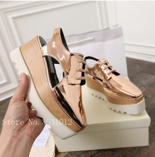 2018 New Arrival Fashion Casual Summer Wedges Platform Women Sandals Sapato Star High Heels Lace Up Cut-outs Shoes Woman ladies casual platform wedges oxford shoes for women metallic pu cut outs women high heels summer brogue oxfords shoes woman