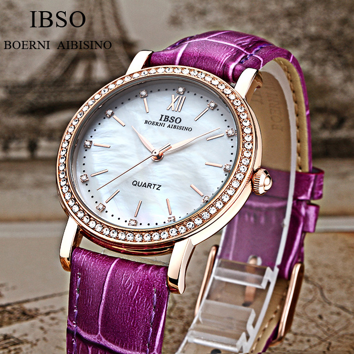 IBSO Merk Mode Dameshorloges Lederen band Horloge Dames Luxe Kristal - Dameshorloges - Foto 5