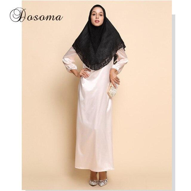 Elegant Islamic Abaya Gown Dress Diamonds Pure Silk Muslim Women ...