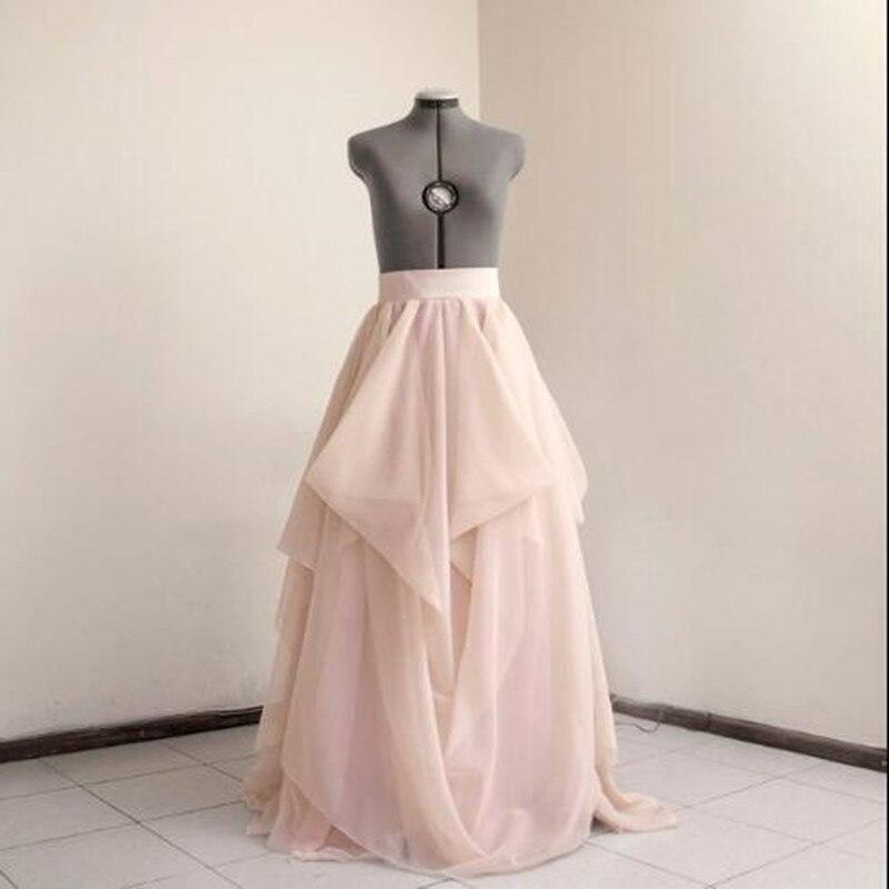 Nude Tulle halki spódnice piętro długość wielowarstwowy darmowe rozmiar moda formalne halka ślubna suknia ślubna szyta na zamówienie spódnice w Spódnice od Odzież damska na  Grupa 1