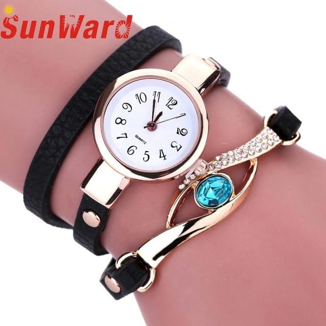 Wristwatch Bangle Bracelet Watches Women Diamond Wrap Around Leatheroid Quartz N