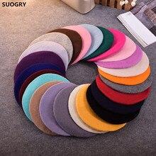 Дешевая модная новинка, женский шерстяной Одноцветный берет, женская кепка s, зимняя универсальная теплая прогулочная Кепка, 20 цветов