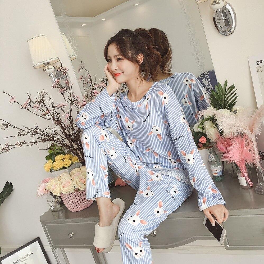 Women Autumn Pajama Set Bear Printing pijama Home Pyjamas Woman Cotton Pyjama Set Sleepwear Plus Size Pajamas For Women pyjama