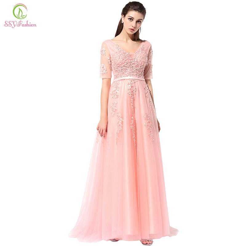 SSYFashion Lace   Evening     Dress   The Bride Banquet Sexy V-neck Half Sleeves Embroidery Long Party Prom   Dress   Robe De Soiree Custom