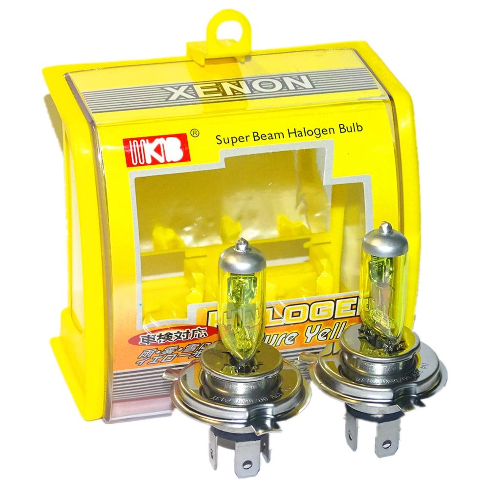 2 PCS(1 Pair) 12V 100/W H4 Halogen Bulb Yellow 3000K Quartz Glass Car HeadLight Auto Light XENON Fog Lamp + Retail Packaging Box