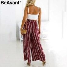 BeAvant High waisy side split loose pants Women boho print wide leg pants capris Stripe casual pants summer trousers bottom 2018