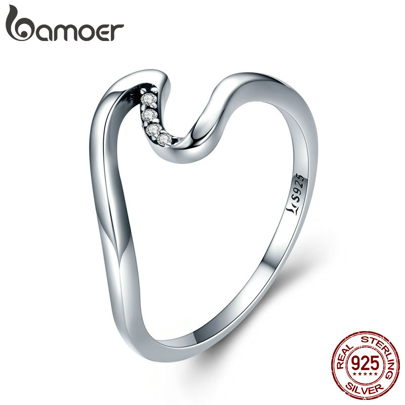 BAMOER Authentic 100% 925 Sterling Silver Geometric Wave Finger Rings for  Women Wedding Engagement Jewelry Gift S925 SCR378 cda908e7ec9a