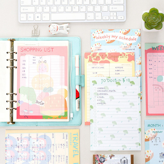 cute kawaii colored to do list weekly planner bills travelers