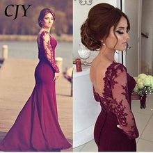 Elegant Sheer Long Sleeve Prom Dresses Mermaid Dark Red Top Satin Floor Length Applique Lace Burgundy