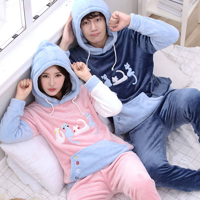 Hooded Autumn And Winter Thick Coral Velvet Pajamas Men Or Women Couple Cute Cartoon Long Sleeve Flannel Tracksuit