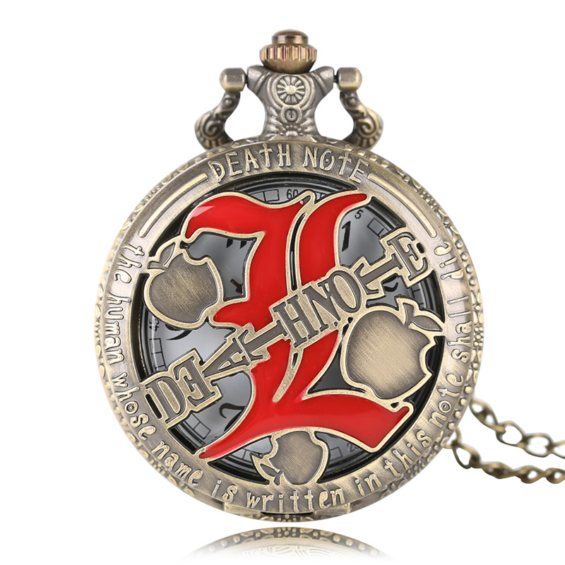 High Quality Men Bronze Hollow Full Hunter Death Note Theme Quartz Pocket Watch With Necklace Chain Gift Children high quality bronze the soviet union flag theme pocket watch with necklace chain gift for men women