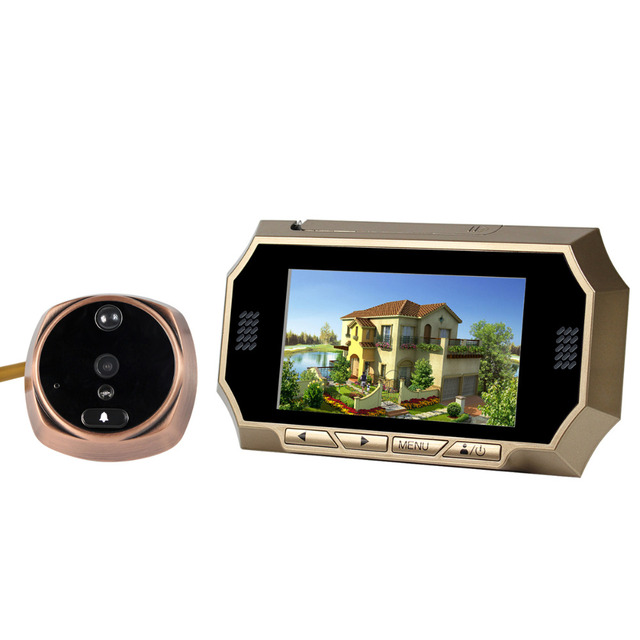 "4.3"" LCD Video Intercom Doorbell Peephole Viewer Eye Door Phone PIR Motion Detection Camera F4473J"