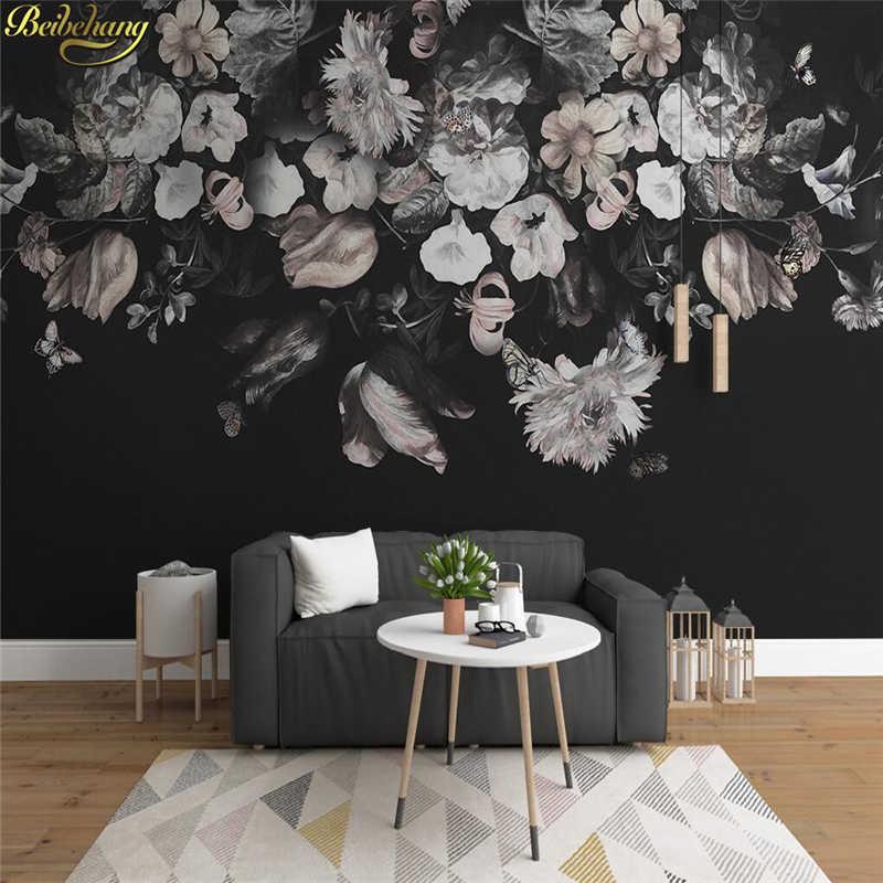 Beibehang черный ТВ фон papel де parede 3d цветочные обои для стен 3 d фотообои обои домашний Декор Гостиная