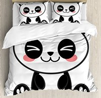 Anime Duvet Cover Set Cute Cartoon Smiling Panda Fun Animal Theme Japanese Manga Kids Teen Art Print
