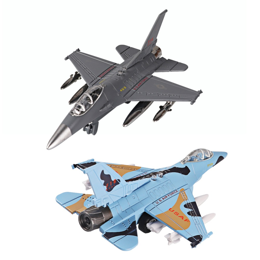 Diecast Alloy Airplane Model Toys Metal Pull-Back Aircraft Toys Airplane USA Force F16 Model Kit Gift Set For Kids Boy Birthday