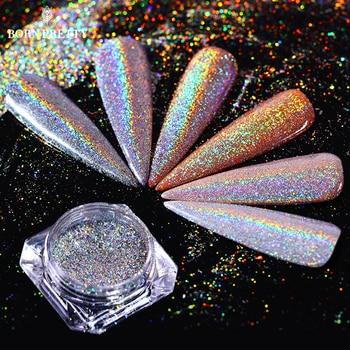 Holographic Rainbow Nail Glitter Flakes 0.5g Laser Super Shine Pigment Powder Dust Manicure Nail Art Decoration