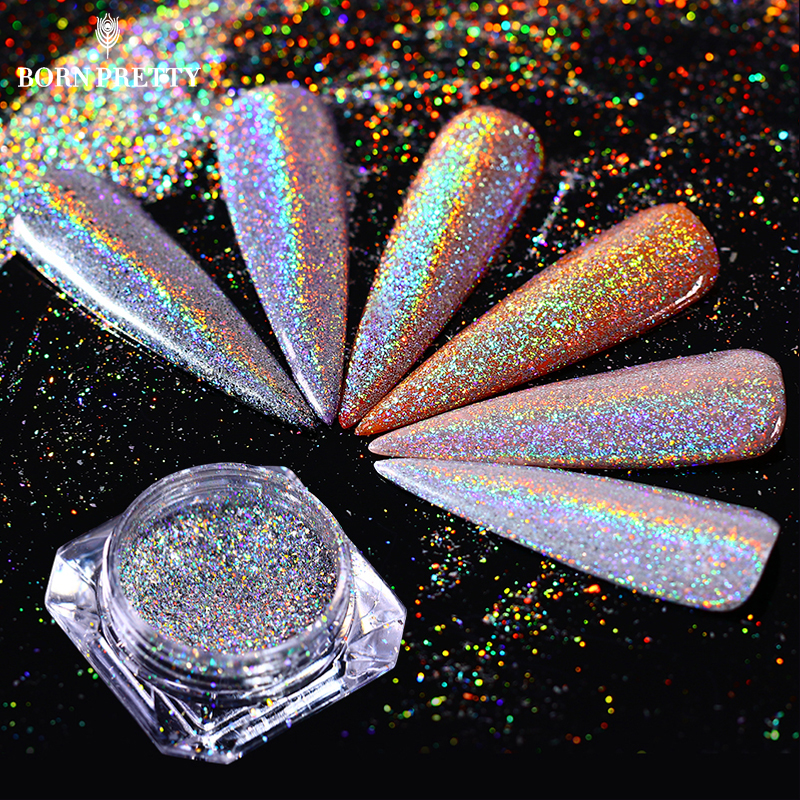 Holografisk Rainbow Nail Glitter Flakes 0.5g Laser Super Shine Pigment Powder Dust Manicure Nail Art Decoration