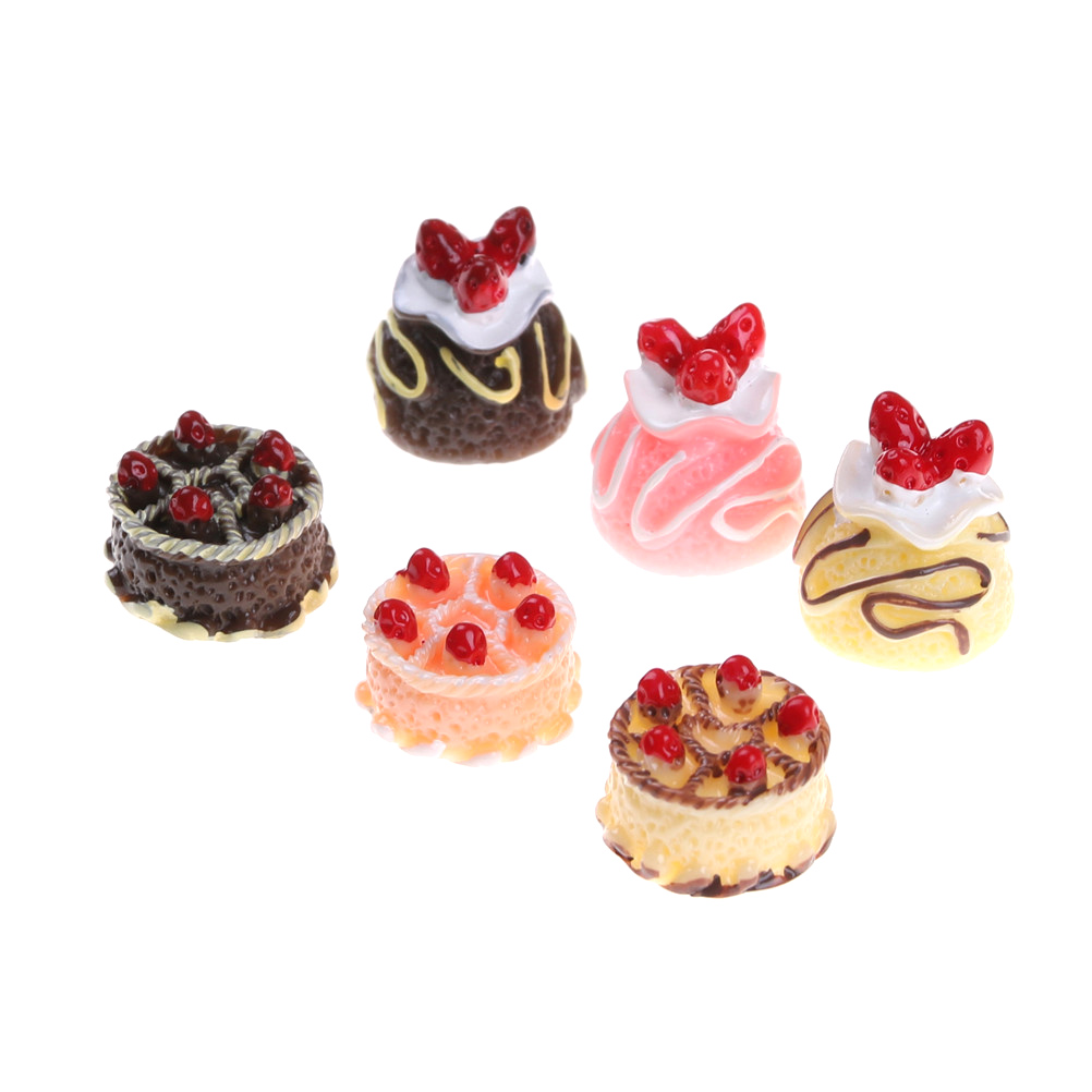 6Pcs/lot Fake Strawberry Cake Food Resin Flatback Flat Back Cabochon Kawaii DIY Resin Craft Decoration Dollhouse Miniature