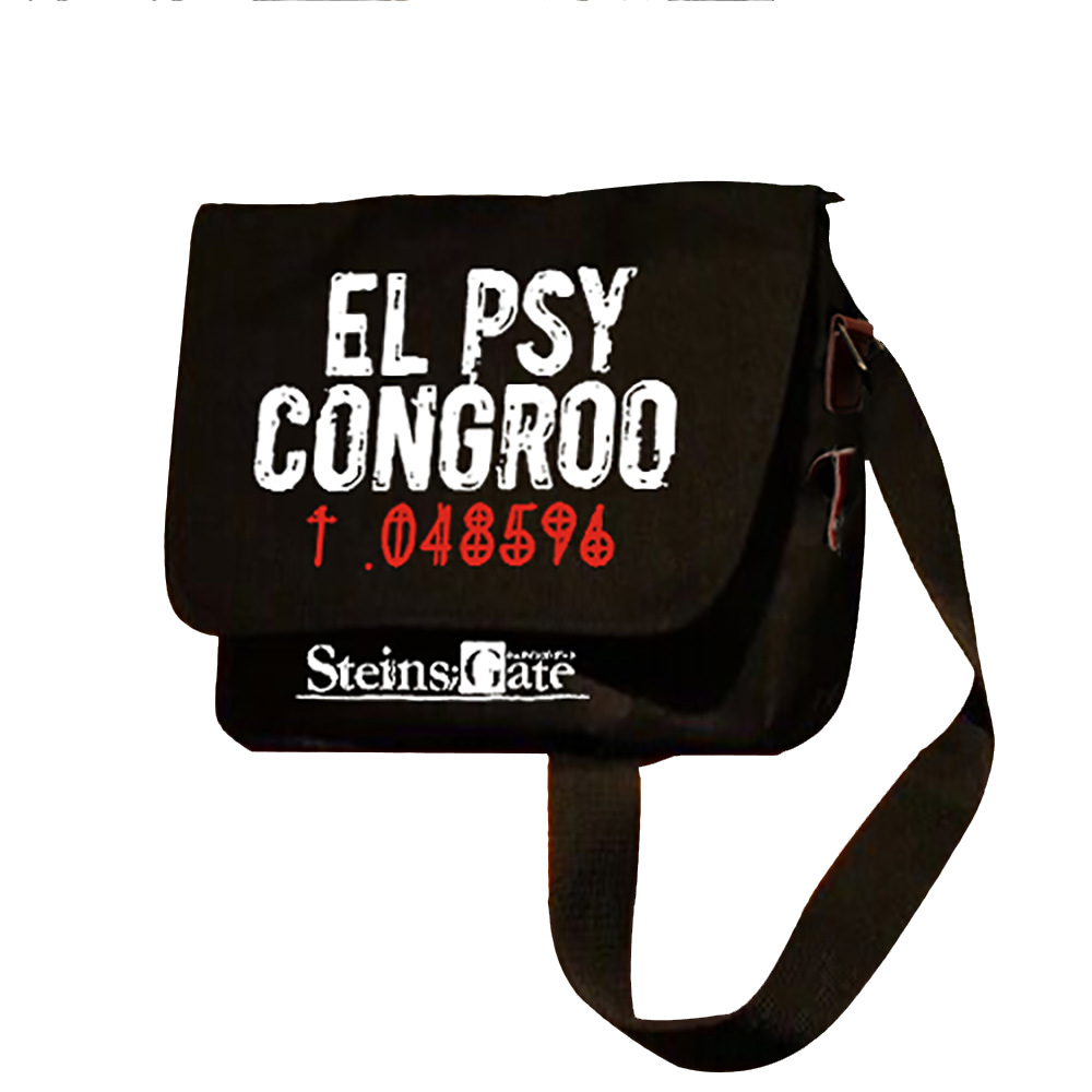 Zshop Steins Gate Habitat Cartoon Bags Anime Cosplay Makise Kurisu Unisex Crossbody Aslant Gift Black El Psy Congroo 048596