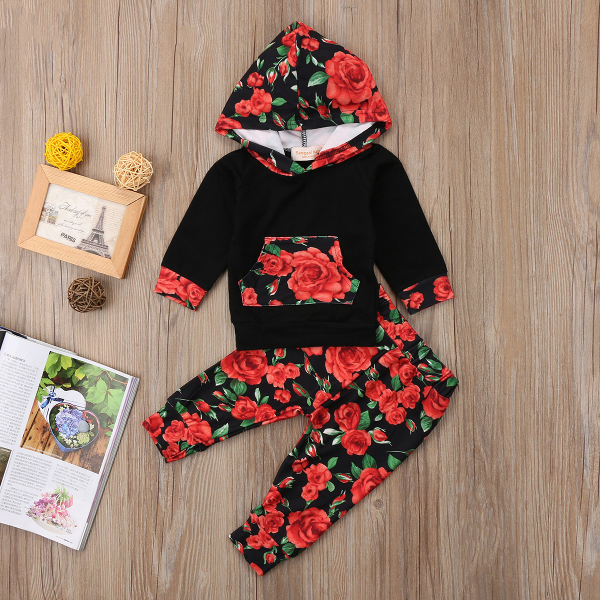 2PCS HOT Sale Baby Girls Cotton Floral Long Sleeve Hooded Tops+Long Pants Fashion Clothes Set 0-24M
