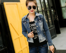 Classical Denim Jacket Vintage cotton Long Sleeve slim hole Jacket For Women Jeans Frayed Outerwear Coats plus size XL