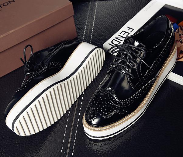 2016 spring new heavy-bottomed platform shoes women flat Genuine leather lace casual shoes Bullock Black,silver Women Shoes new women shoes fashion genuine leather spring autumn casual shoes lace up loafers shoes heavy bottomed platform white shoes