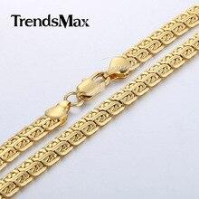 Trendsmax 7mm para hombre del caracol del acoplamiento de cadena doble de alta calidad para mujer unisex oro amarillo lleno de collar de regalo al por mayor gn366