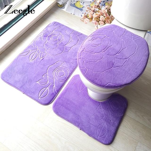 Zeegle Bagno Zerbino Bagno Tappeto antiscivolo Zona Toilette Tappetini 3D Assorb