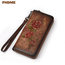 PNDME fashion vintage designer handmade embossed genuine leather ladies long wallet clutch bag flowers female purse for women