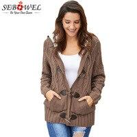 SEBOWEL Faux Fur Hooded Thicken Sweater Cardigan Woman Warm Winter Female Knitted Overcoat Ladies Long Sleeve Sweaters Cardigans
