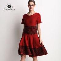 גבירותיי עבודה שמלה קצרה שרוול 2017 סרוג שמלות נשים שמלה אדומה יוקרה