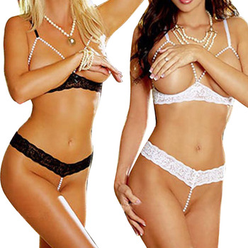 New Hot Women Sexy Pearl Lace Open Bra Sleepwear Underwear Set Lingerie Babydoll Black