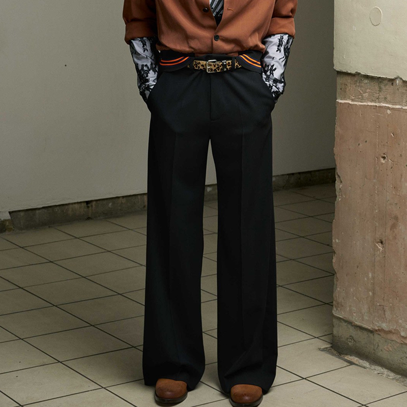 Costumes Catwalk Clothing Leg-Pants Slacks Straight GD Men's Fashion Plus-Size Casual