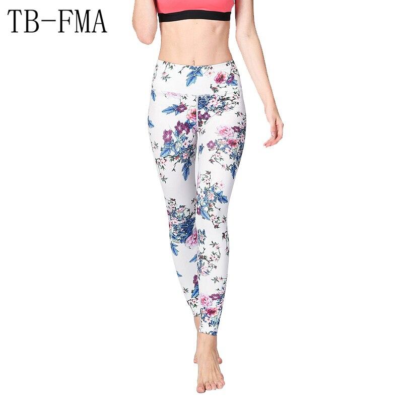 2017 New Women High Waist Yoga Sport Leggings Floral lights Push Hips Compression Sportswear Fitness Running Printed Pants Women