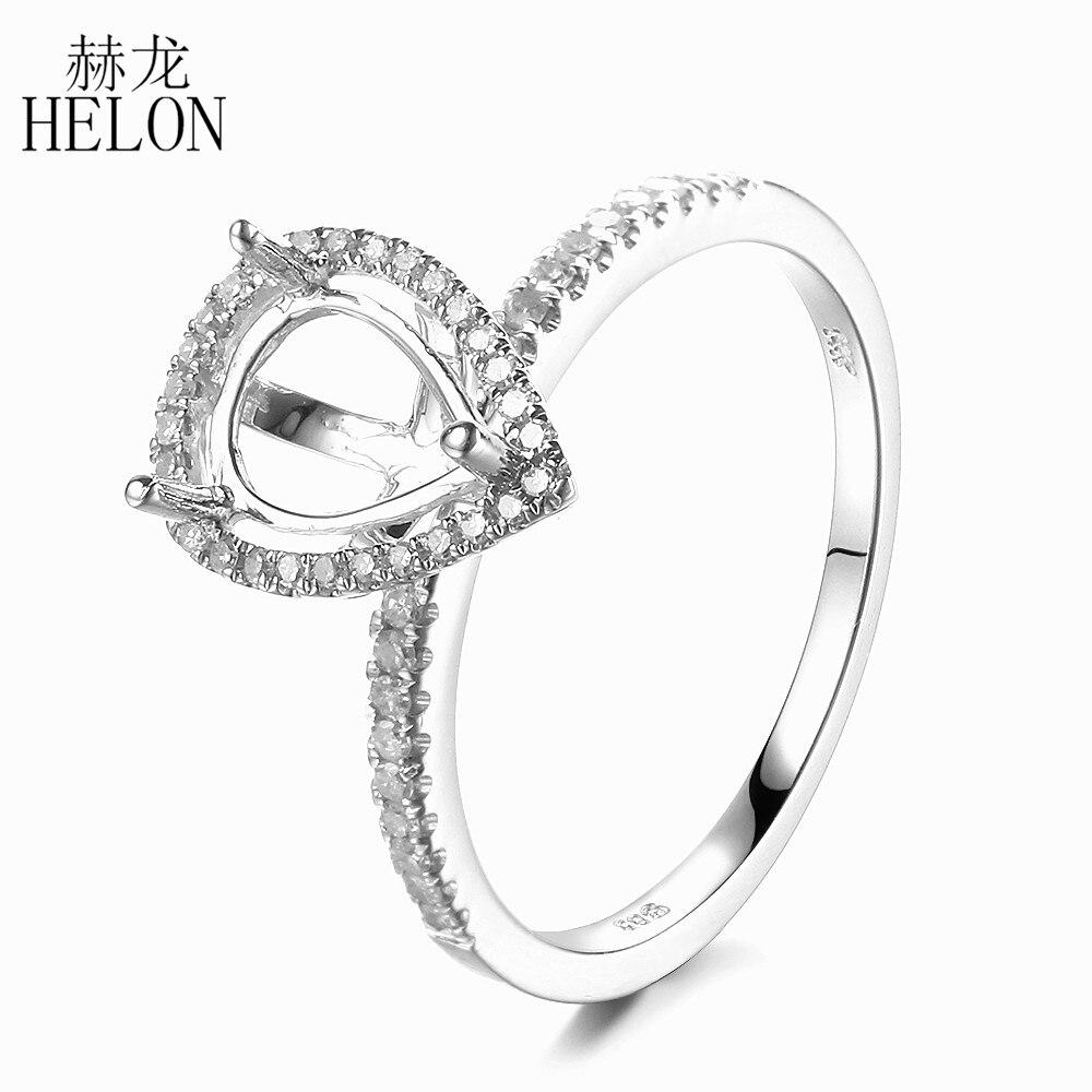 HELON 925 Sterling Silver 8x6mm Pear Cut Semi Mount 100 Genuine Natural Diamonds Engagement Weddding Women
