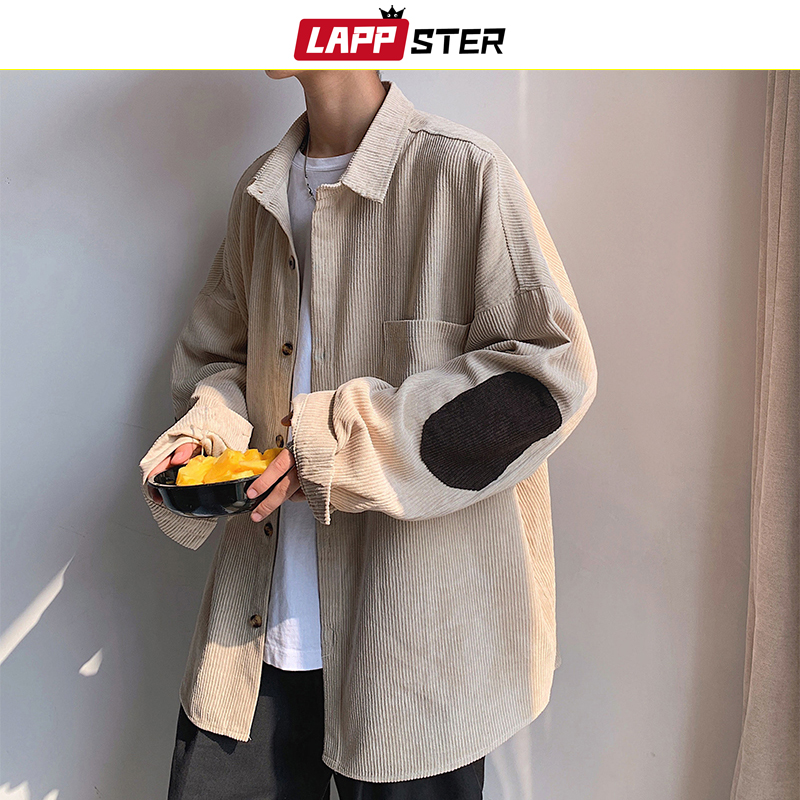 LAPPSTER Men Corduroy Patchwork Shirts 2020 Hip Hop Loose Long Sleeve Shirt Japanese Streetwear Khaki Harajuku Shirt Oversized